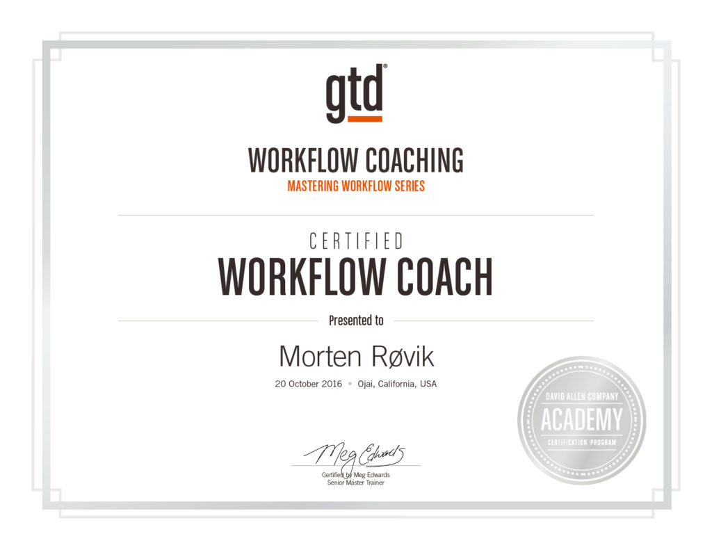 Certified GTD Workflow Coach diploma