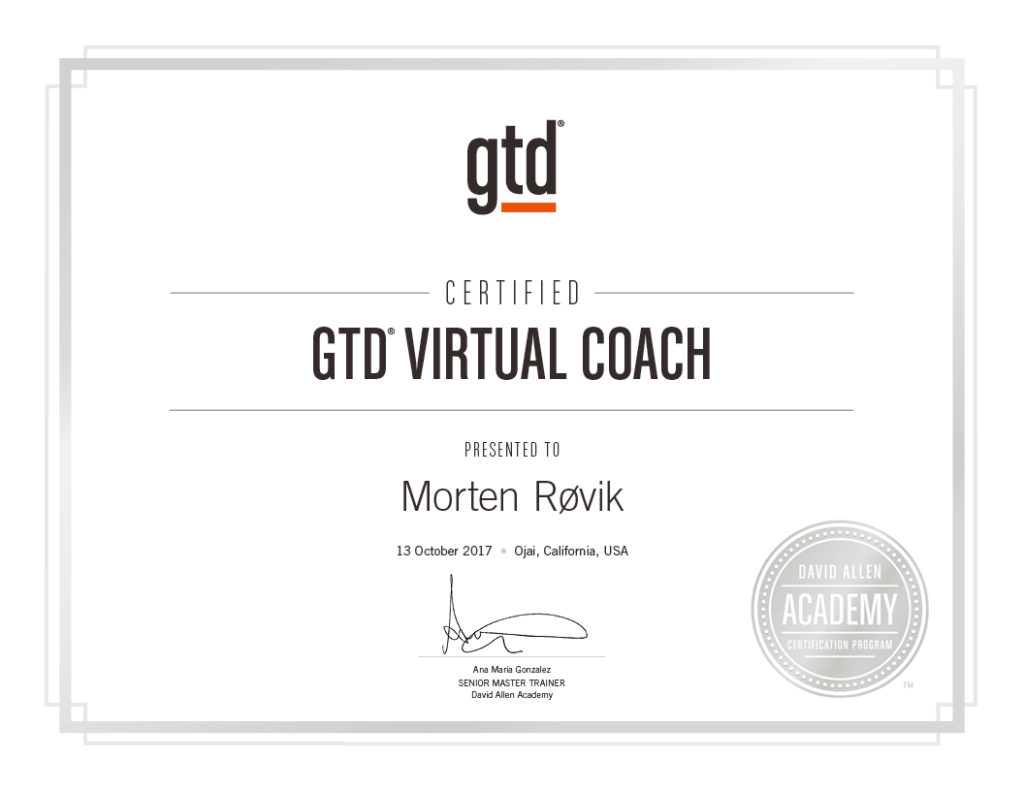 Certified GTD Virtual Coach diploma