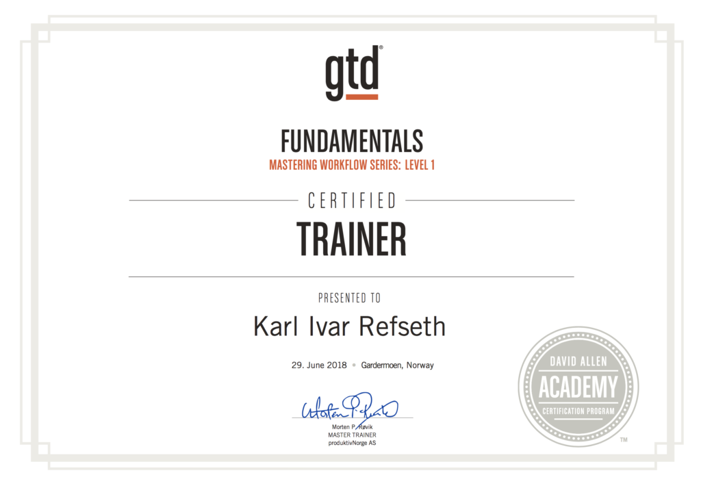Karl Ivar Refseth - Certified GTD Trainer