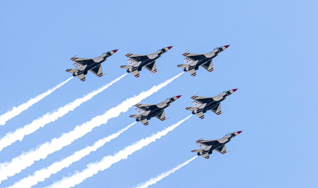 Fighter airplanes with a clear sky backdrop